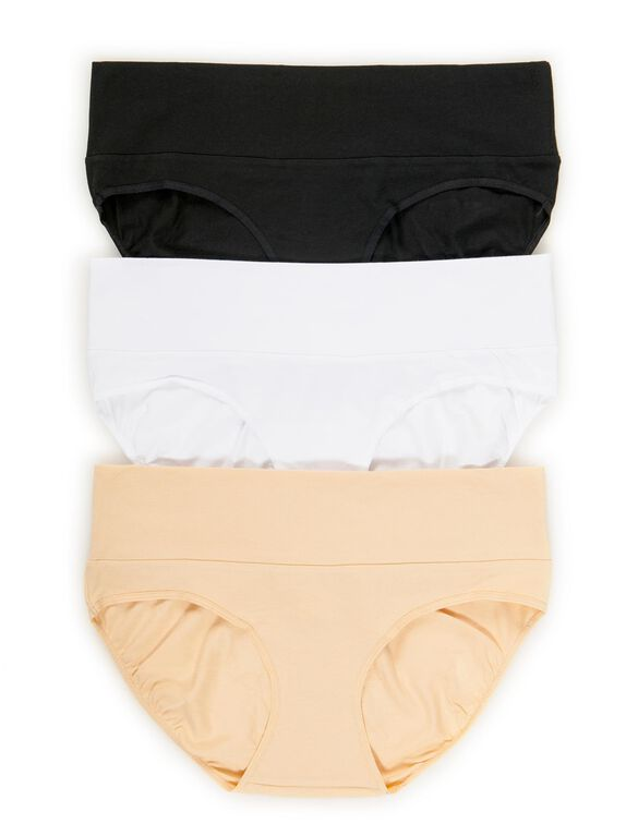 Maternity Fold Over Panties (3 Pack), Black/White/Nude