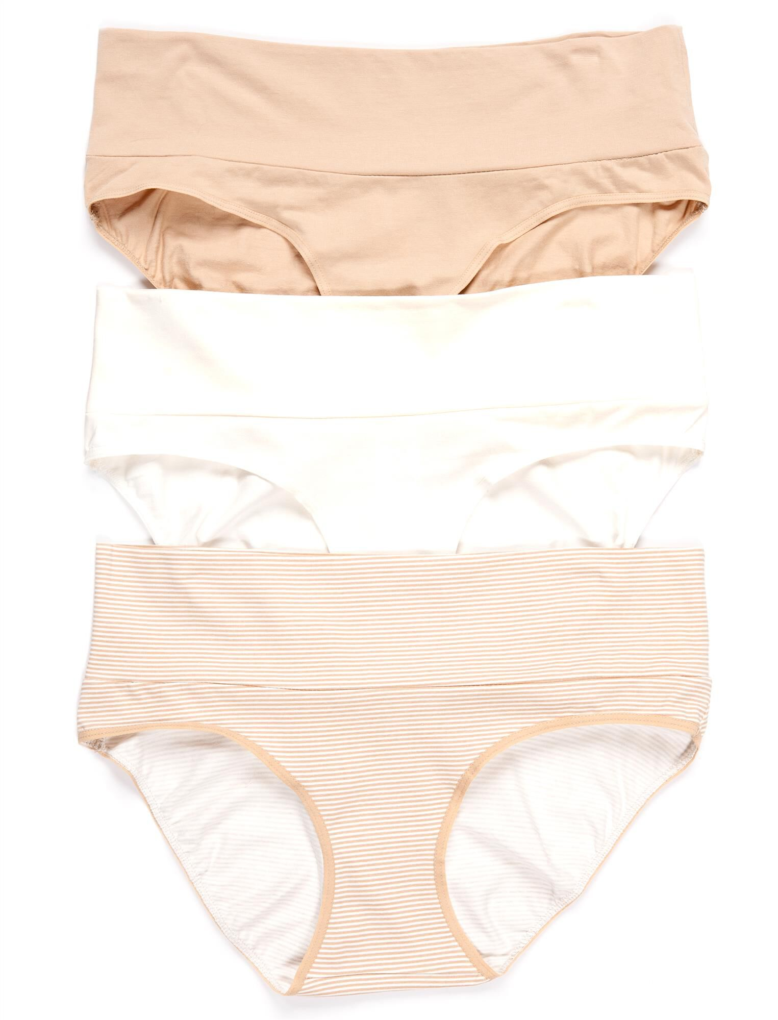 Maternity Fold Over Panties (3 Pack)- Nudes