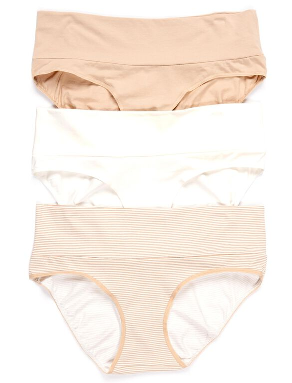 Maternity Fold Over Panties (3 Pack)- Nudes, Nudes