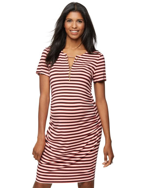 Rachel Zoe Short Striped Maternity Dress, Multi Stripe