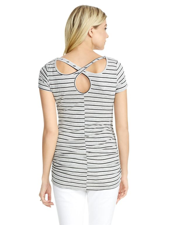 Jessica Simpson Striped Back Interest Maternity Tee, Grey Stripe