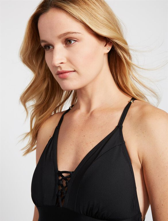 Tie Front One Piece Maternity Swimsuit- Black, Black