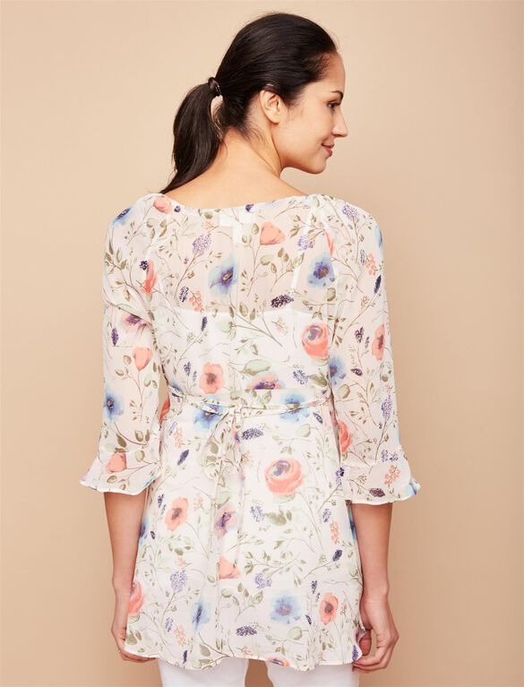 Jessica Simpson Ruffled Maternity Blouse, Pink Floral