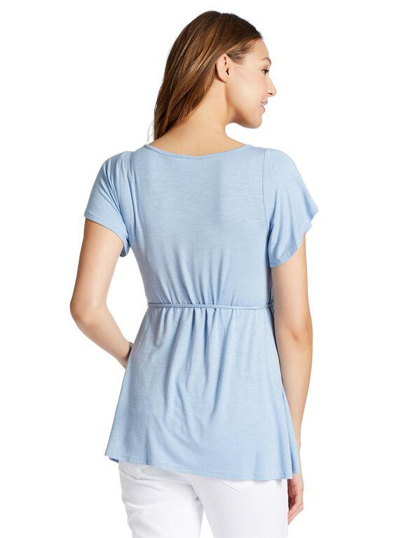 Jessica Simpson Flutter Sleeve Maternity Shirt, Forever Blue