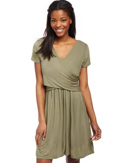 Faux Wrap Nursing Dress, Deep Lichen Green