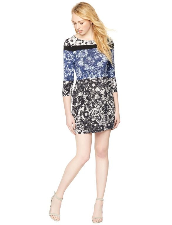 BCBGMAXAZRIA Lace Printed Maternity Dress, Caviar Combo