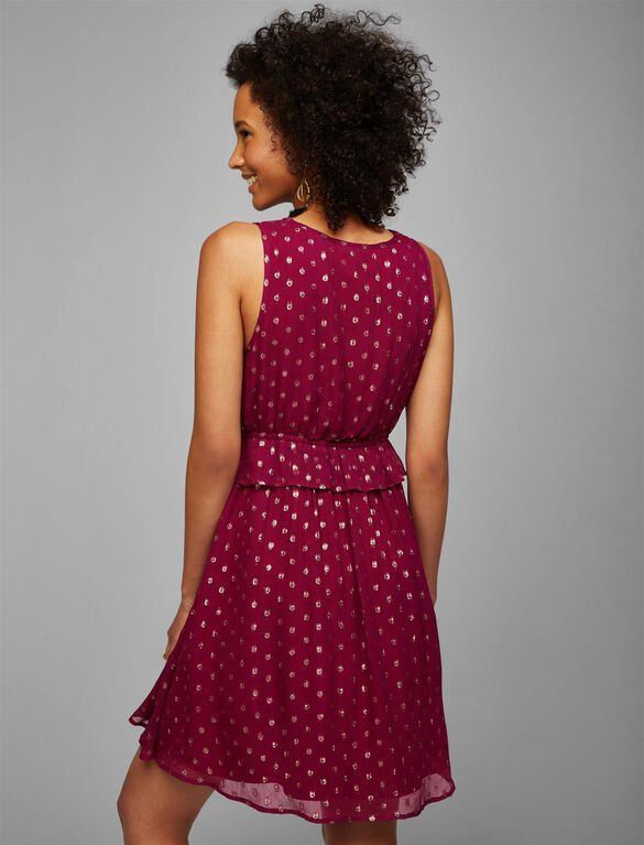 Metallic Dot Maternity Dress, Fuchsia/Gold Dot