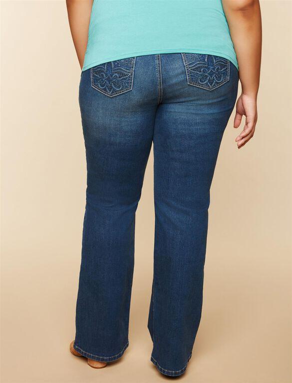 Plus Size Secret Fit Belly Pocket Detail Boot Cut Maternity Jeans, Medium Wash