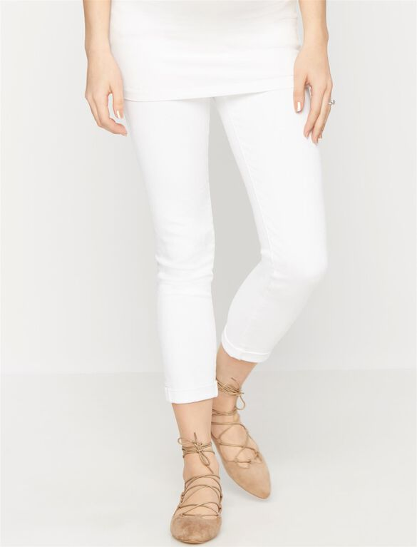 AG Jeans Secret Fit Belly Stilt Roll Up Maternity Jeans- White, White