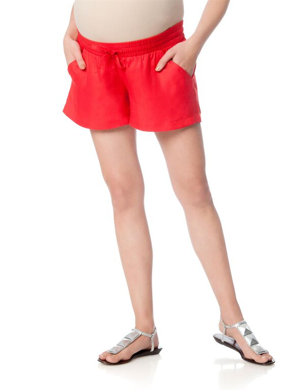 Isabella OliverPull On Style Maternity Shorts, Red Coral