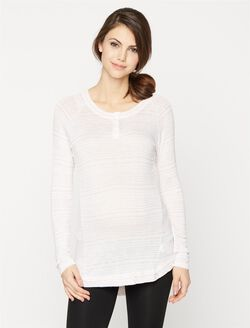 A Pea In The Pod Henley Maternity Tunic, Dusty Lilac Marl