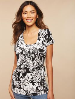 Lift Up Side Tie Nursing Top, Leaf Print