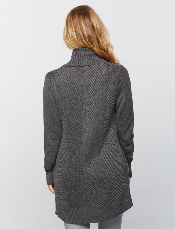 Cable Knit Maternity Cardigan, Charcoal
