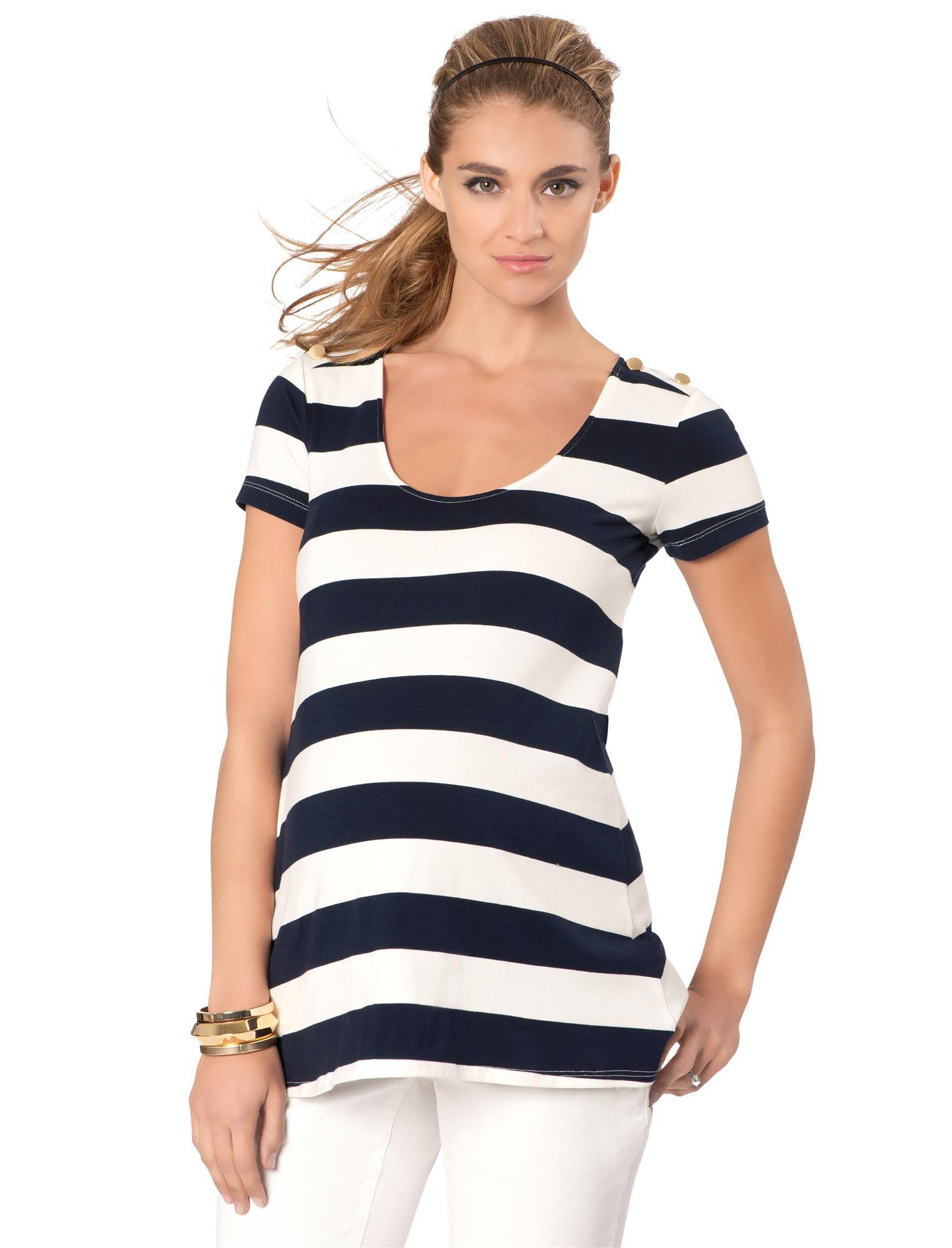 Rachel Zoe Jersey Knit Striped Maternity Top