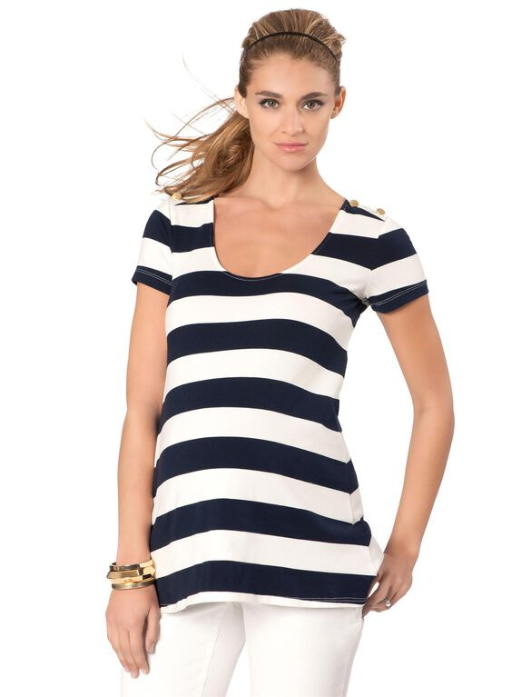 Rachel Zoe Jersey Knit Striped Maternity Top, Marine/White Stripe