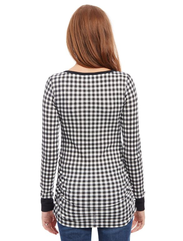 Checked Henley Maternity Shirt, Black/White