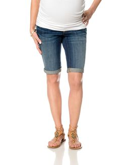 A Pea In The Pod Jeans Secret Fit Belly Cuffed Maternity Bermuda Shorts, Dark Wash