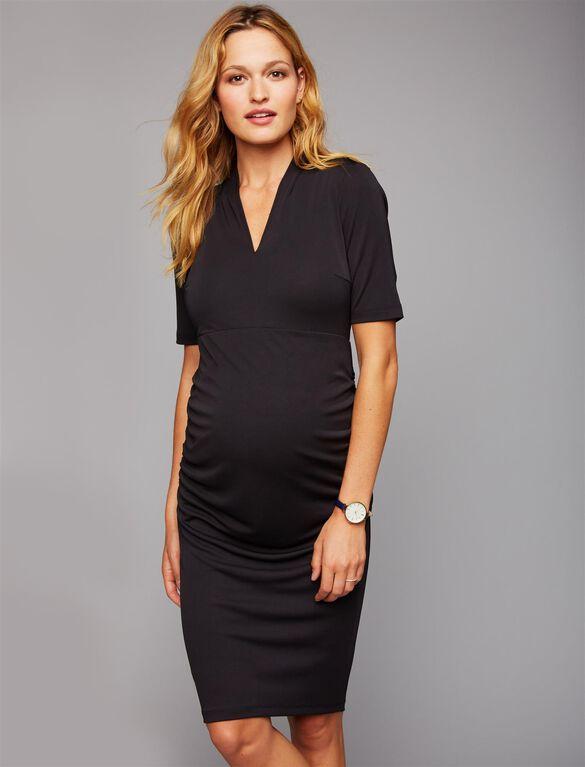 Deep V Side Ruched Maternity Dress, Black