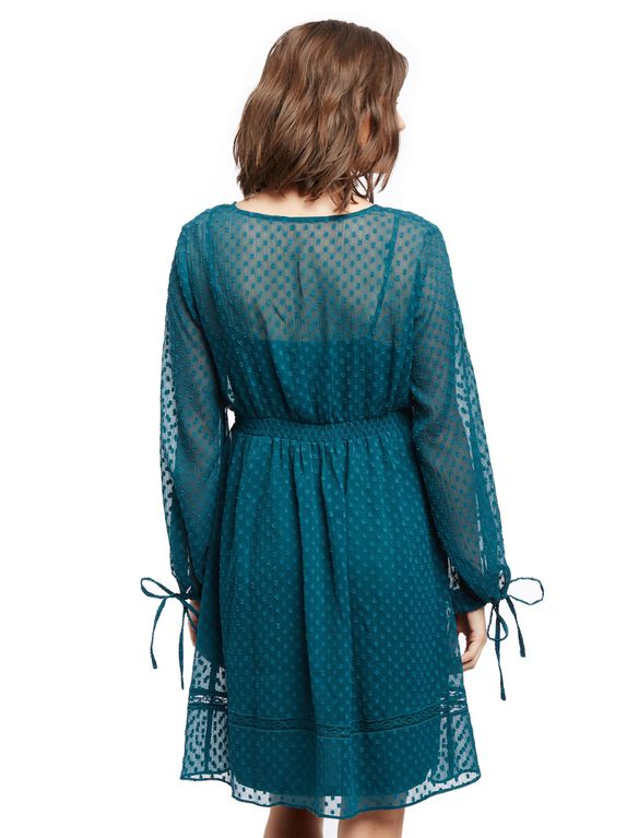 Smocked Waist Maternity Dress- Print, Deep Teal Clip Dot