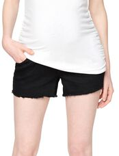 Luxe Essentials Denim Secret Fit Belly Fray Hem Maternity Shorts, Black