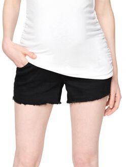 Luxe Essentials Denim Secret Fit Belly Fray Hem Maternity Shorts, Black