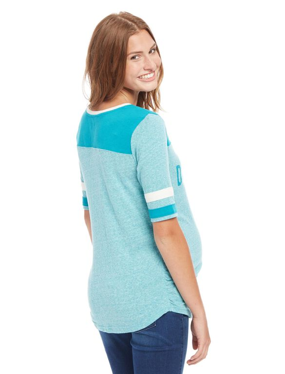Miami Dolphins NFL Elbow Sleeve Maternity Graphic Tee, Dolphins Teal