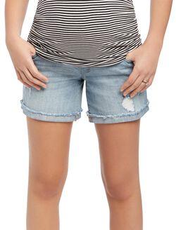 Indigo Blue Secret Fit Belly Destructed Denim Maternity Shorts, Light Wash Denim