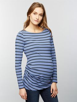 Pleated Maternity Top- Blue, Blue Willow