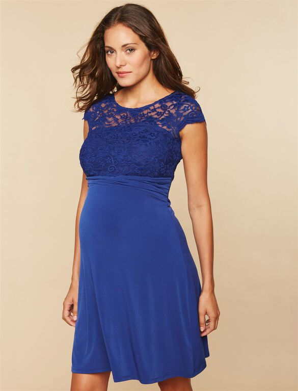 Lace Bodice Maternity Dress, NAVY