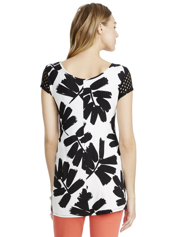 Jessica Simpson Crochet Sleeve Maternity Tee- Floral, Black And White