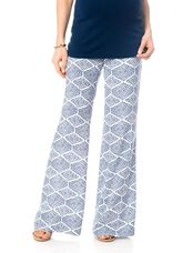 Pull On Style Challis Wide Leg Maternity Pants, Navy Print