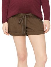 Under Belly Linen Maternity Shorts, Dark Moss
