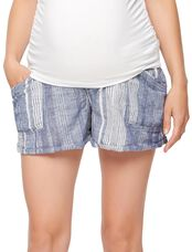 Blank NYC Secret Fit Belly Linen Striped Maternity Shorts, Blue/White Stripe