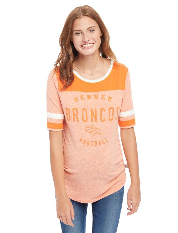 Denver Broncos NFL Elbow Sleeve Maternity Graphic Tee, Broncos Orange