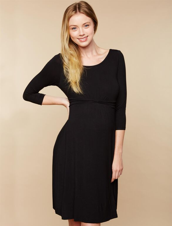 Web Only Knot Front Maternity Dress, Black