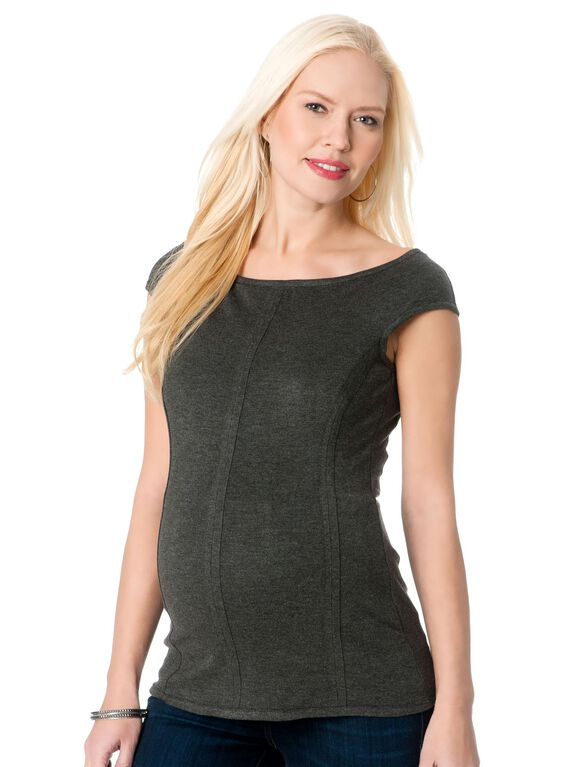 Bailey 44 Cap Sleeve Maternity T Shirt, Charcoal
