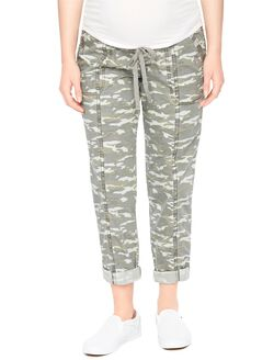 Secret Fit Belly Cargo Straight Maternity Pants- Camo, Camo Print