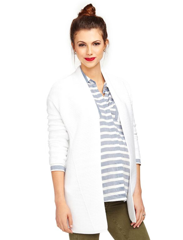 Vince Cotton Maternity Cardigan, White