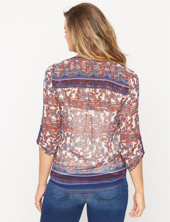 Daniel Rainn Button Detail Maternity Blouse, Mixed Floral Print