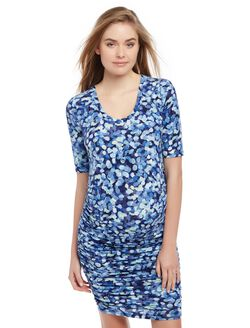 Side Ruched Maternity Dress- Blue Print, Thumb Print