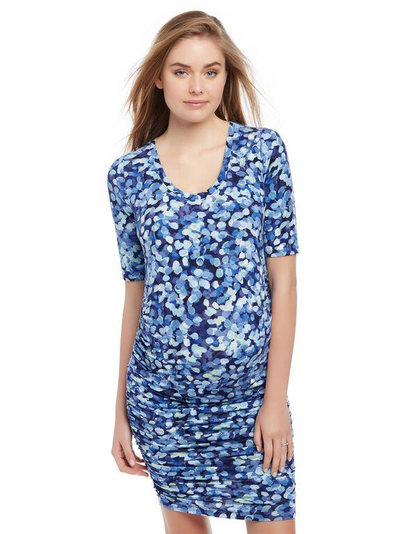 Side Ruched Maternity Dress- Blue Print, Thumb Print