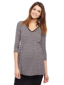 Ladder Trim Babydoll Maternity Top- Print, Black/White Geo