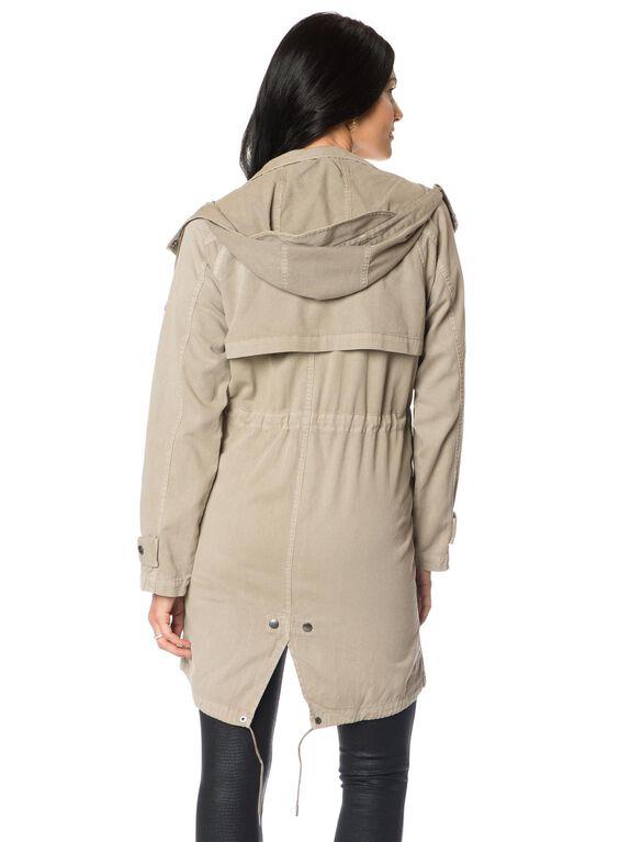Removable Hood Maternity Jacket, Khaki