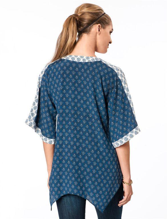 Rachel Zoe Printed Half Sleeve Maternity Peasant Top, Marine