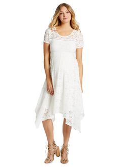 Jessica Simpson Hanky Hem Maternity Dress, Cloud Dancer