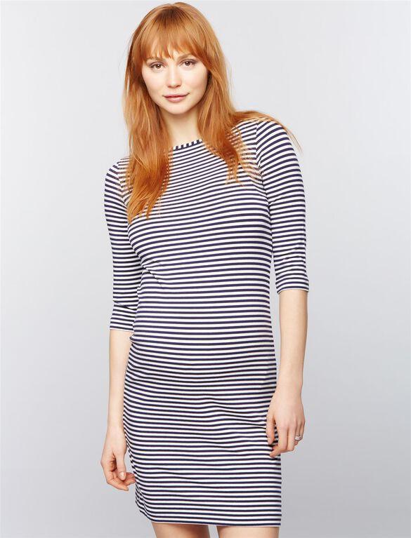 Pietro Brunelli Kasay Maternity Dress, Stripe Wht/Nvy