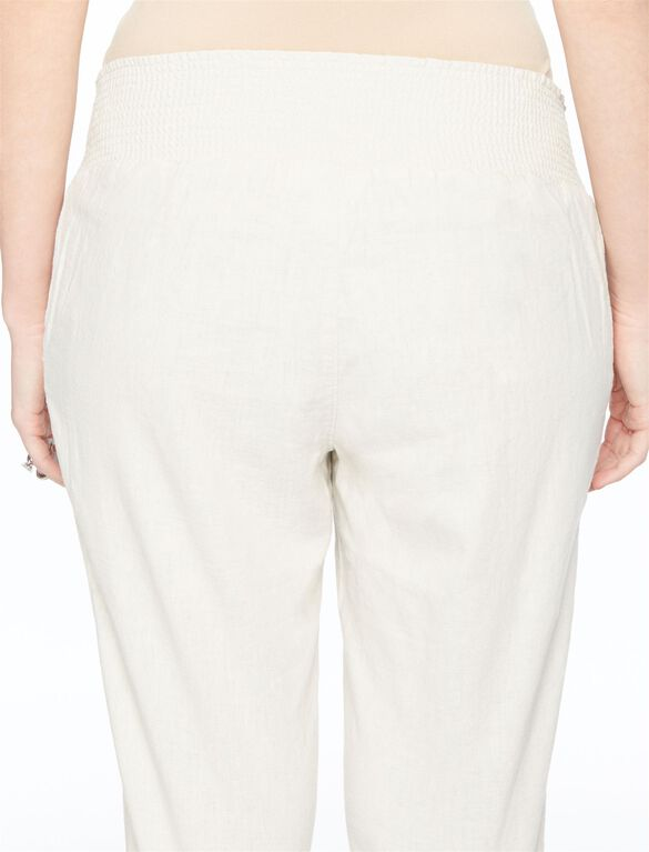 Smock Waist Linen Flare Leg Maternity Pants, Natural Tan