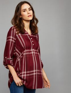 Luxe Essentials Denim Plaid Convertible Maternity Shirt, Burgundy Plaid