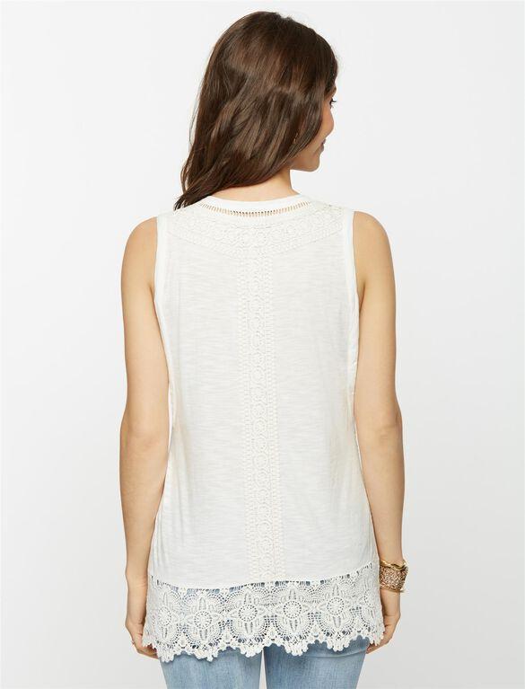 Crochet Detail Maternity Tank, White