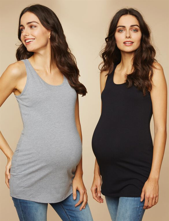 Bumpstart Scoop Neck Maternity Tank Top (2 Pack)- Solid, Black And Grey